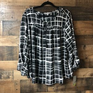 Valerie Stevens Black & White Plaid Blouse NWT